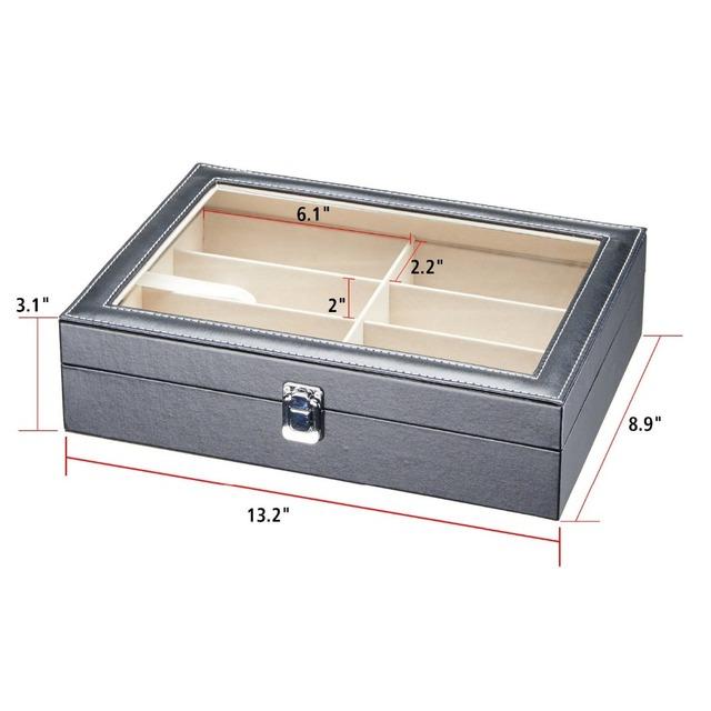 Wholesale Fashion Glasses Storage box Custom Leather Sunglasses Display Box8 slots Glasses Storage Box