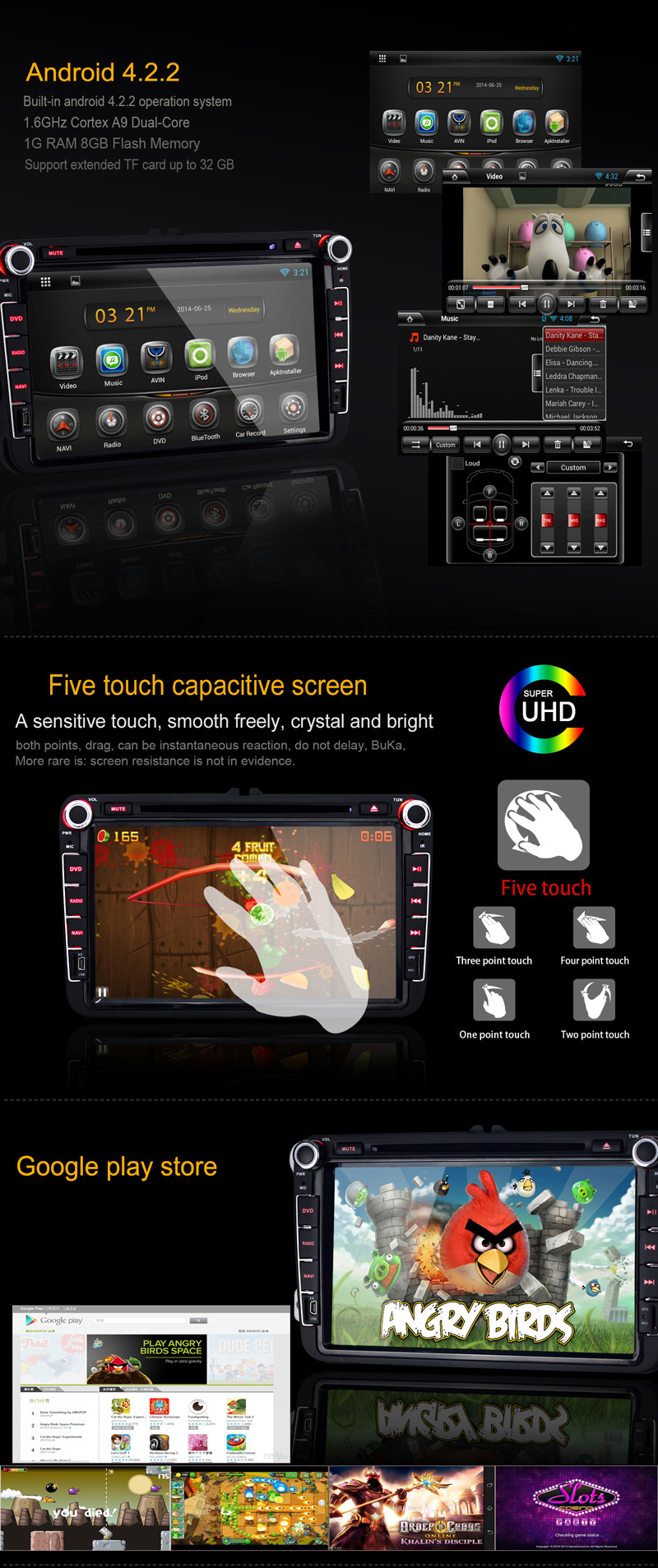 Dual Core android 4.2.2 touch sreen car dvd gps navigation for KIA CERATO 2003-2009 car radio with bluetooth ipod tv wifi 3G