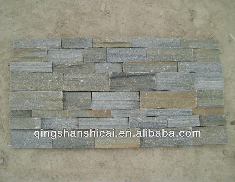 Grijze leisteen gestapelde stenen muur fineer baksteen tegels interieur decoratieve bakstenen - Leisteen muur ...