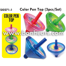 New Novelty Toy 3Pcs Set Color Pen Spin Spinning Top