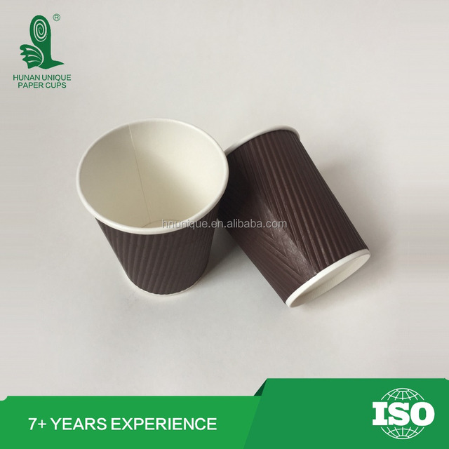 8oz 14oz 16oz Biodegradable compostable disposable insulated Ripple wall paper cups wholesale