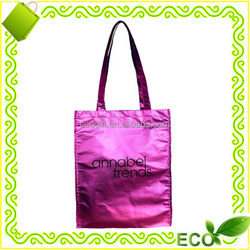 high quality fashionable colored laminated silk screan printing pp metallic non woven shopping bags