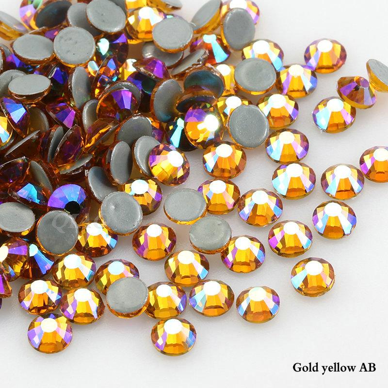 Strass Hotfix rhinestones 100 pièces Gold ø3mm