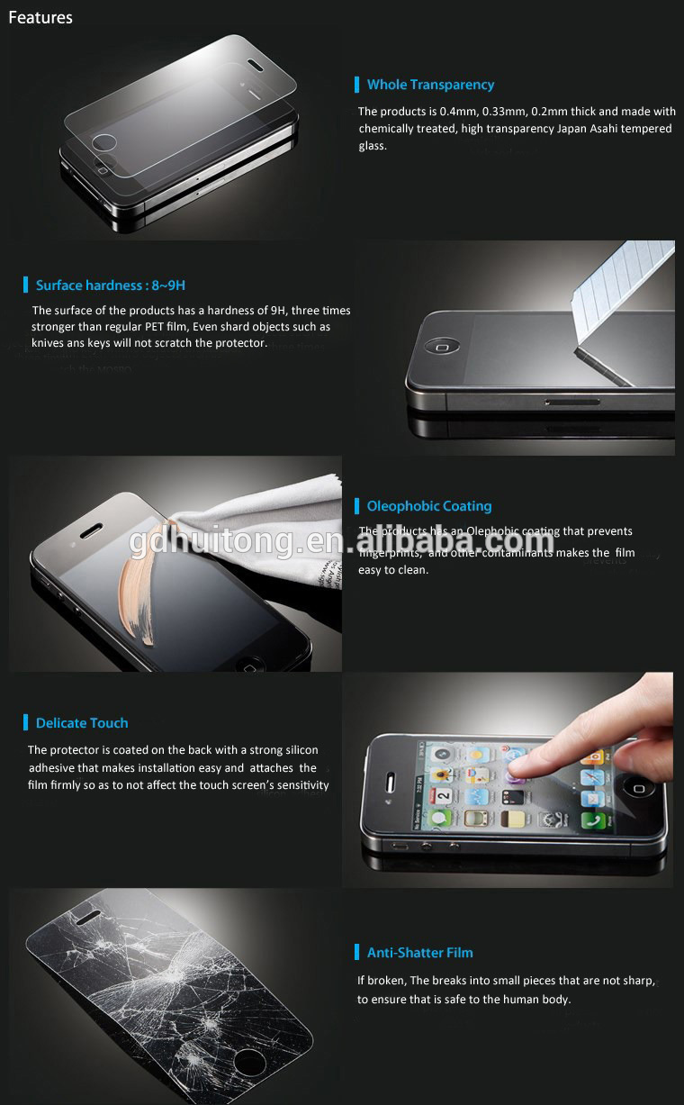 Manufacturer Anti-fingerprint Easy Sticker Screen Protector for iPhone, OEM and ODM Orders are Welcome
