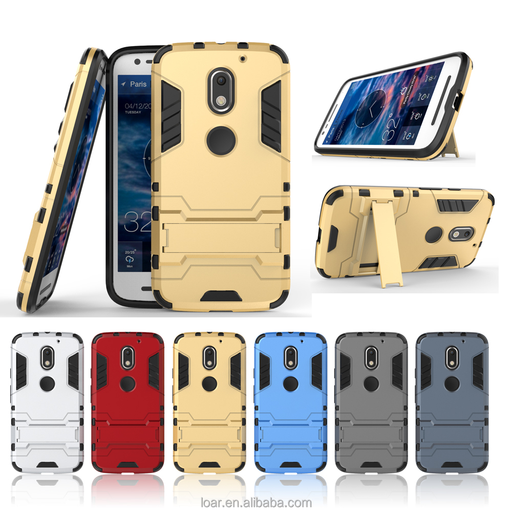 6 Colors in stock With kickstand TPU+PC Armor case for Motorola moto G4 plus X Play Z Force E3 Back Cover Case