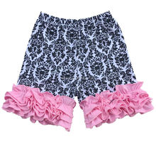 fashion girl baby white black flower ruffle shorts with three layers pink wrinkle hem fit 6months -10yrs
