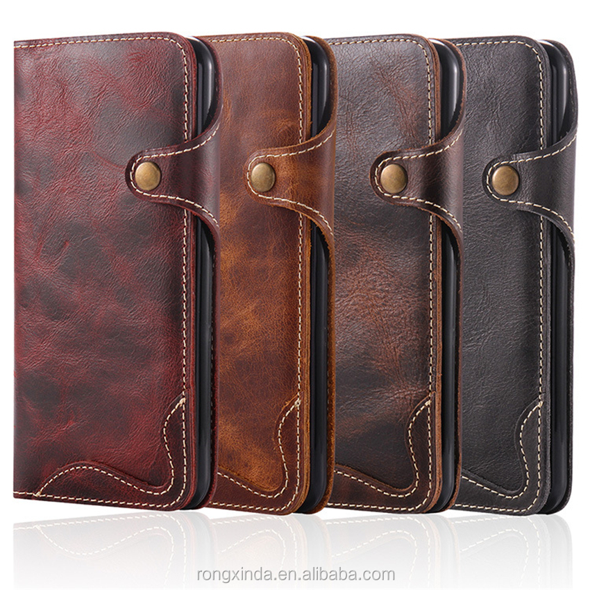 Alibaba express factory directly mobile phone case leather for iphone 7 7plus vintage style genuine leather wallet phone case