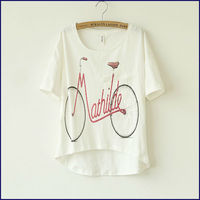 Cotton woman's T-Shirts printing bicycle, ladies Custom T-Shirts with pocket, Branded T-Shirt