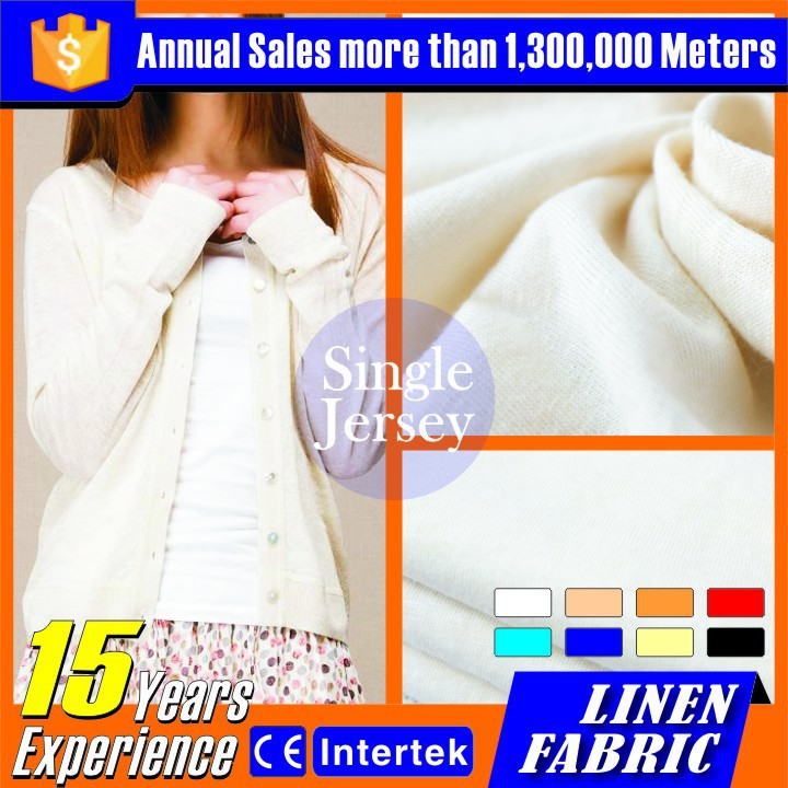 Linen/Cotton flocked fabric used for dress cloth material
