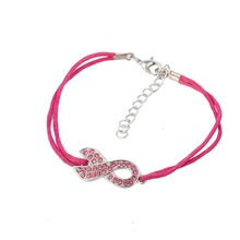 crystal ribbon charm pink wax rope lobster clasp adjustable bracelet