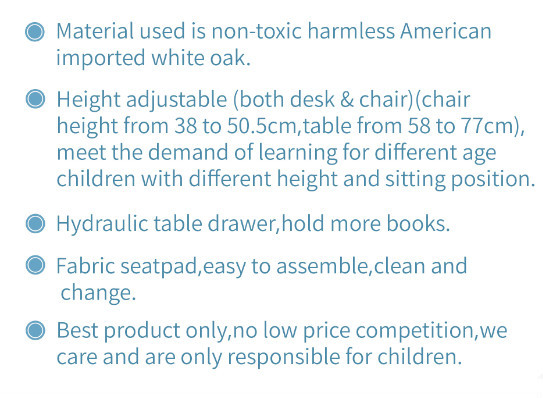 2015 best selling oak adjustable wooden children desk and chair