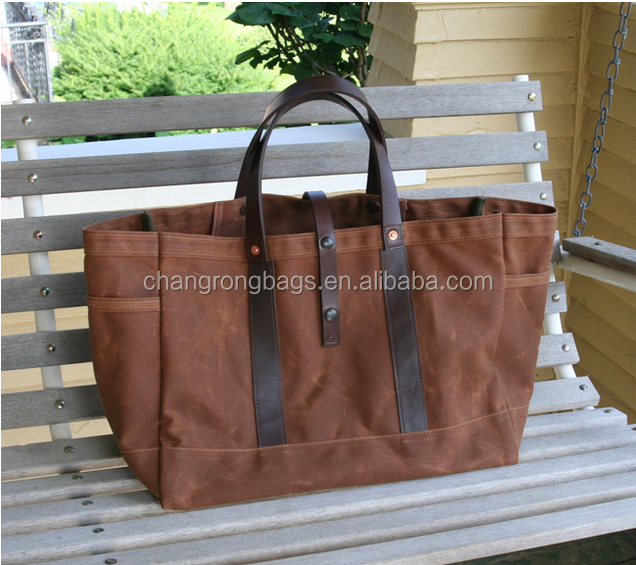 high quality and vintage waxed canvas bag vintage , long strap canvas tote bag , canvas garden tote manufacture