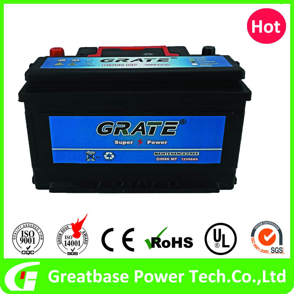 European Standard DIN66MF 66AH 12V High quality car battery with 520CCA