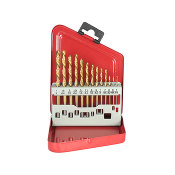 13Pcs Straight Shank HSS Left Hand Twist Drill Bit Set for Metal Drilling with Metal Box
