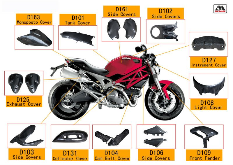 Carbon Fiber motorbike parts for Ducati Monster 696