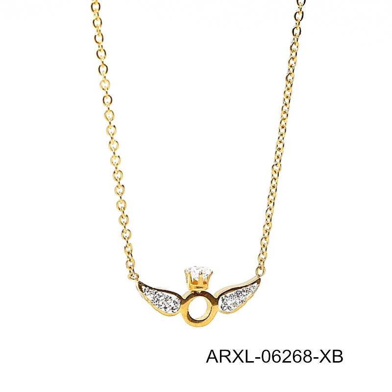 gold plating costume jewelry angel wing necklaces women 2017