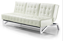 White PU leather living room sofa bed