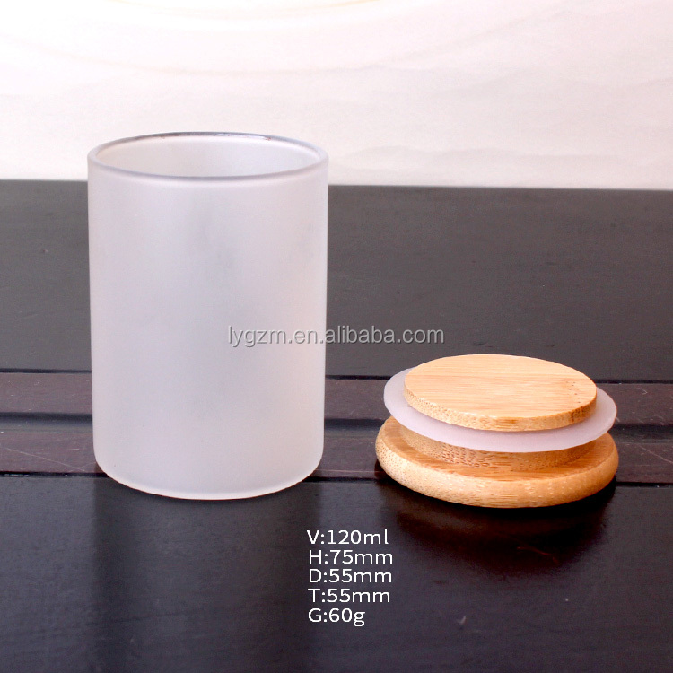 wholesale 120ml high borosilicate frosted glass storage jar with wooden lid