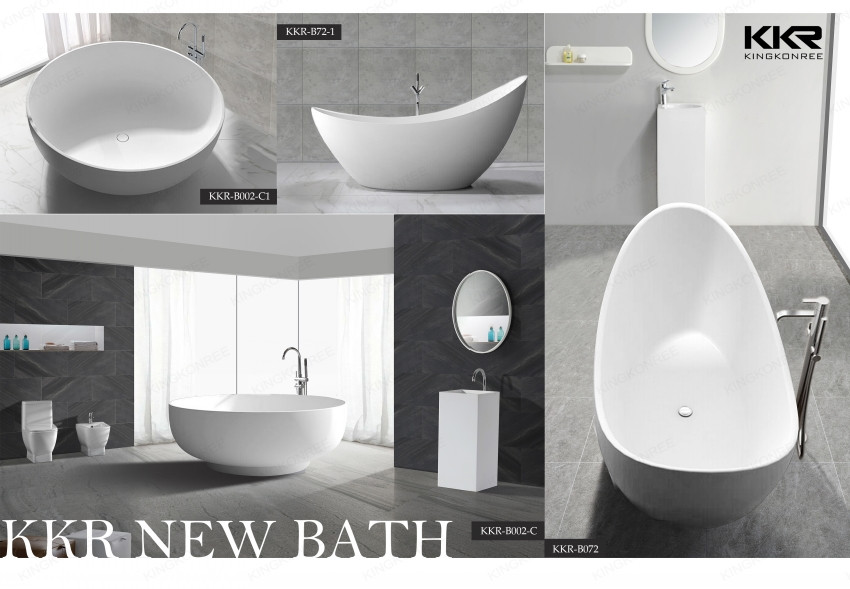Solid surface poly resin freestanding modern clawfoot bathtubs