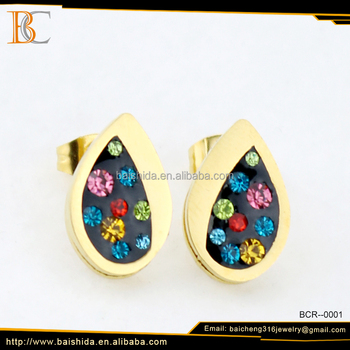 leaf clip on coloured men earrings jewelry china mainland
