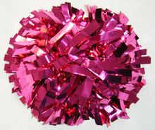 Cheerleading metallic Rosa caliente pom poms