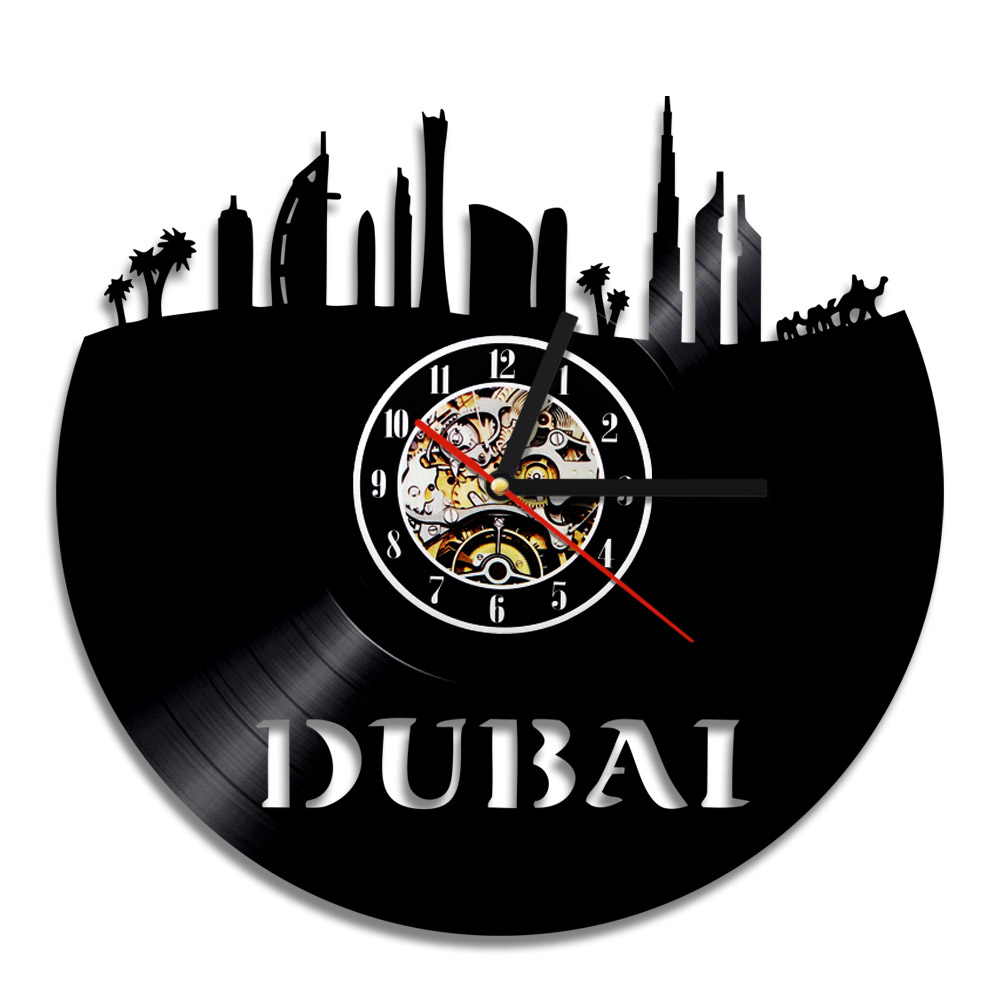 The United Arab Emirates Dubai Cityscape Art Wall Decor Clock Modern Home Decoration Retro Vinyl LP Record 3D Wall Clocks