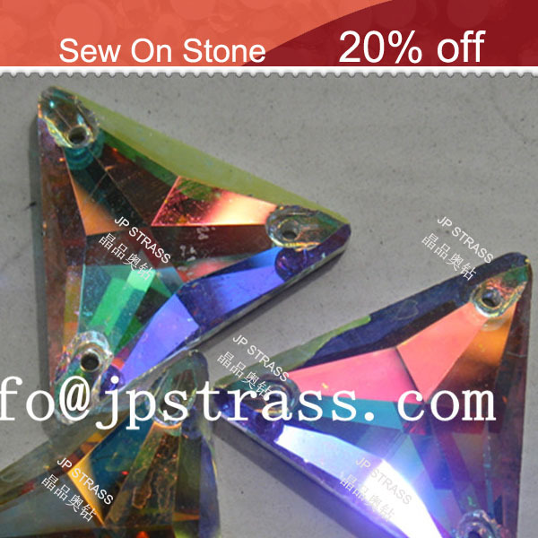 fancy silver foiled back crystal glass beads with 2 <strong>holes</strong> flat back triangle crystal ab beads