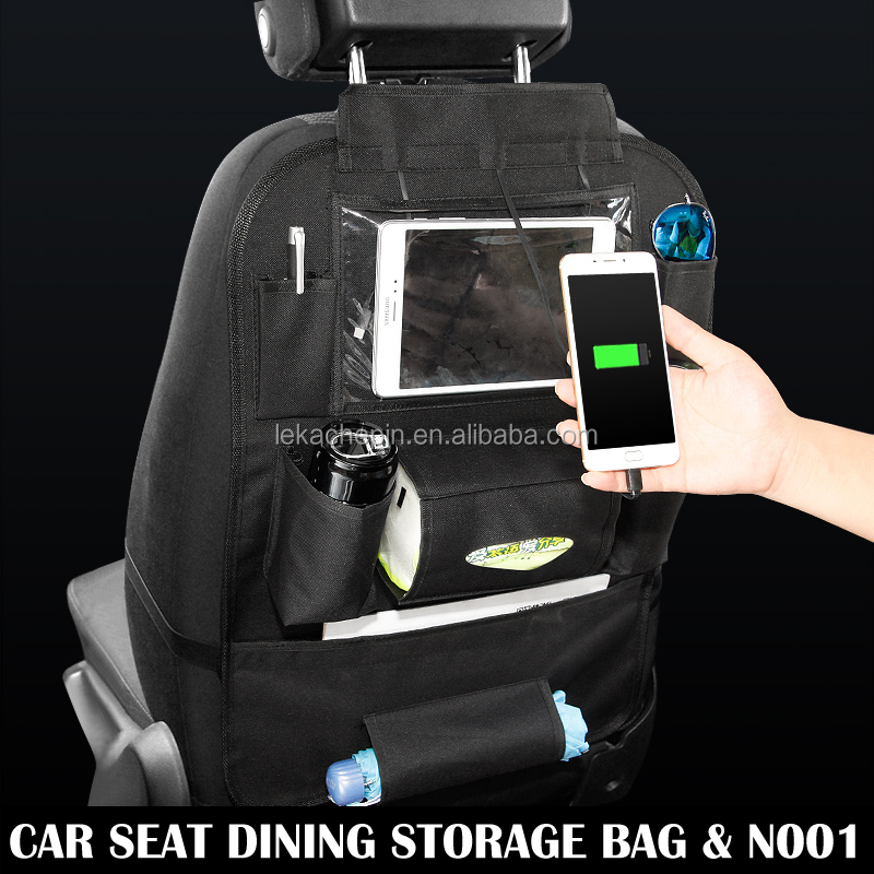 Black Car Back Seat BackSeat Storage Bag Organizer Pocket 3 USB Charger For Apple iPhone iPad mini Air HUAWEI MI OPPO Sumsang