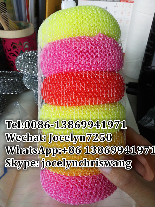 plastic pot scrubbers galvanize wire mesh scrubber mesh scourer cleaning sponge with cheap price