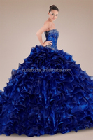 Iridescent Strapless Quinceanera Gown with Embroidered Embellishment and Cascading Ruffles Pakistani New Style Dresses