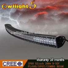 OWLLIGHTS 50 inch 288W 4x4 Cree Led Car Light, Curved Led Light bar Off road, 288w double rows curve led light bar for trucks