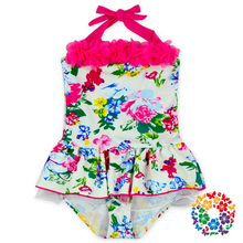 2017 Newest Little Girls Modeling Bikini With Chiffon Floral Print Cute Swimwear Baby Bathing Suit