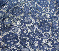 Navy Polyester african water soluble chemical lace fabric for lace wedding dress in stock