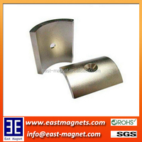 Sintered Neodymium Motor Arc Shaped Magnet/curved rare earth magnet with contersink hole on it