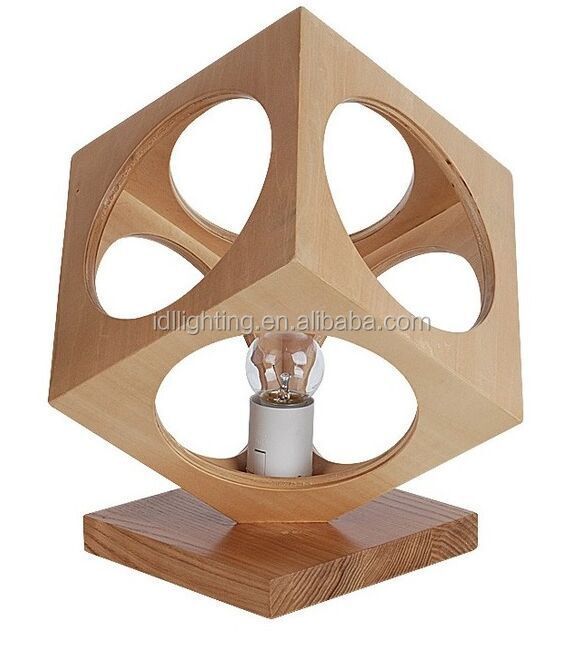 Home decoration New World Cube Wood Table Lamp