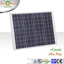 Sunshine 30w Poly High Efficiency A Grade Solar Panel Solar Module for 12V Solar Power System/Street Light/Battery Charging