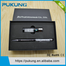 Alibaba express Customized Logo Diamond Crystal USB 2.0 Flash Drive Memory Stick Thumb Drive + Ball Pen Promotio