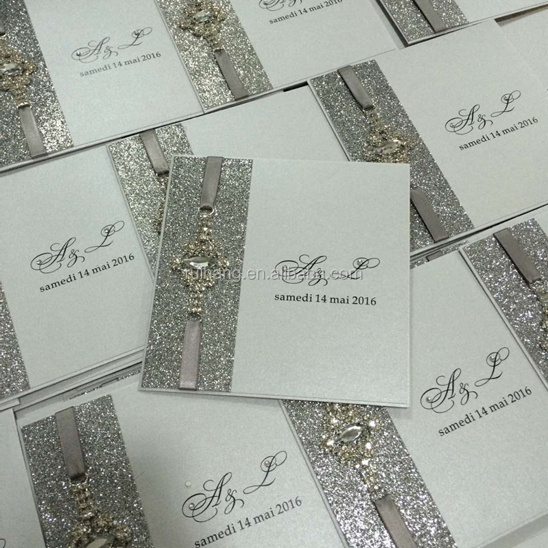 Handmade Luxury Wedding Invitation Cards With Print Shinny Buckle Buy Silve