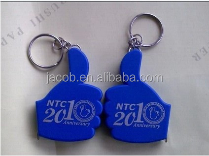 plastic thumb tape measure for promotion with keychains keyring buckle holder