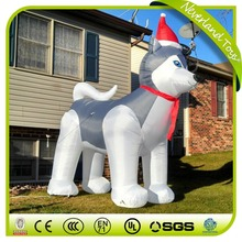 9ft husky dog christmas inflatable with logo