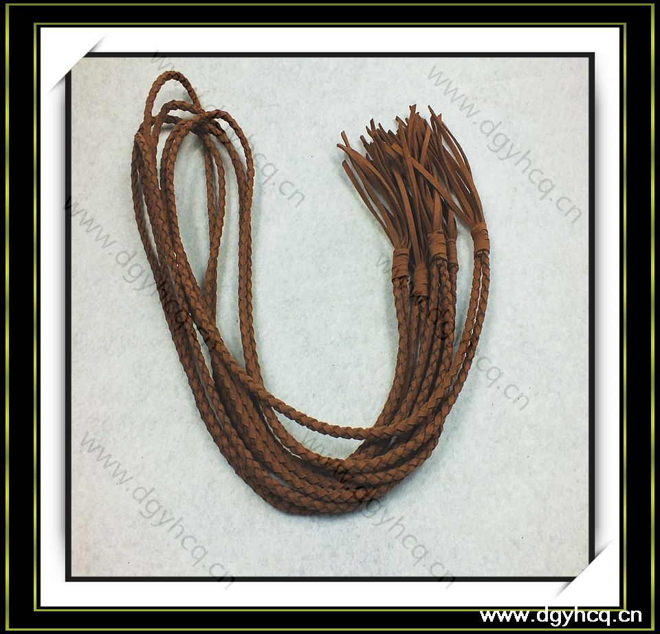 customized high quality braided leather cord with tassel fringe end for garment