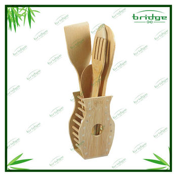 5pcs bamboo utensils and function set