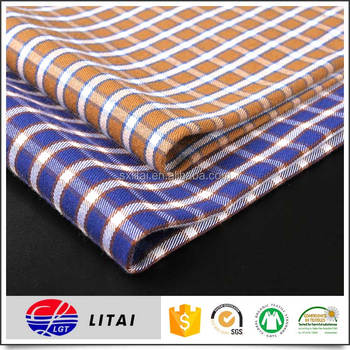 twill bamboo fabric for autumn and winter mens check shirt