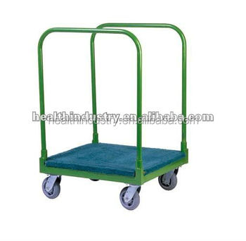 Panel Cart - green color panel cart with 2 removable uprights and with solid deck covering with carpet and uprights