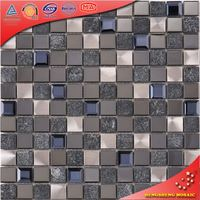 SA60 Dark Blue and Gray Diamond Glass Mosaic Mixed Black Stone and Metal Backsplash Tile