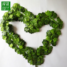 Factory direct sale artificial plastic ivy fake heart shape vine leaves for decoration