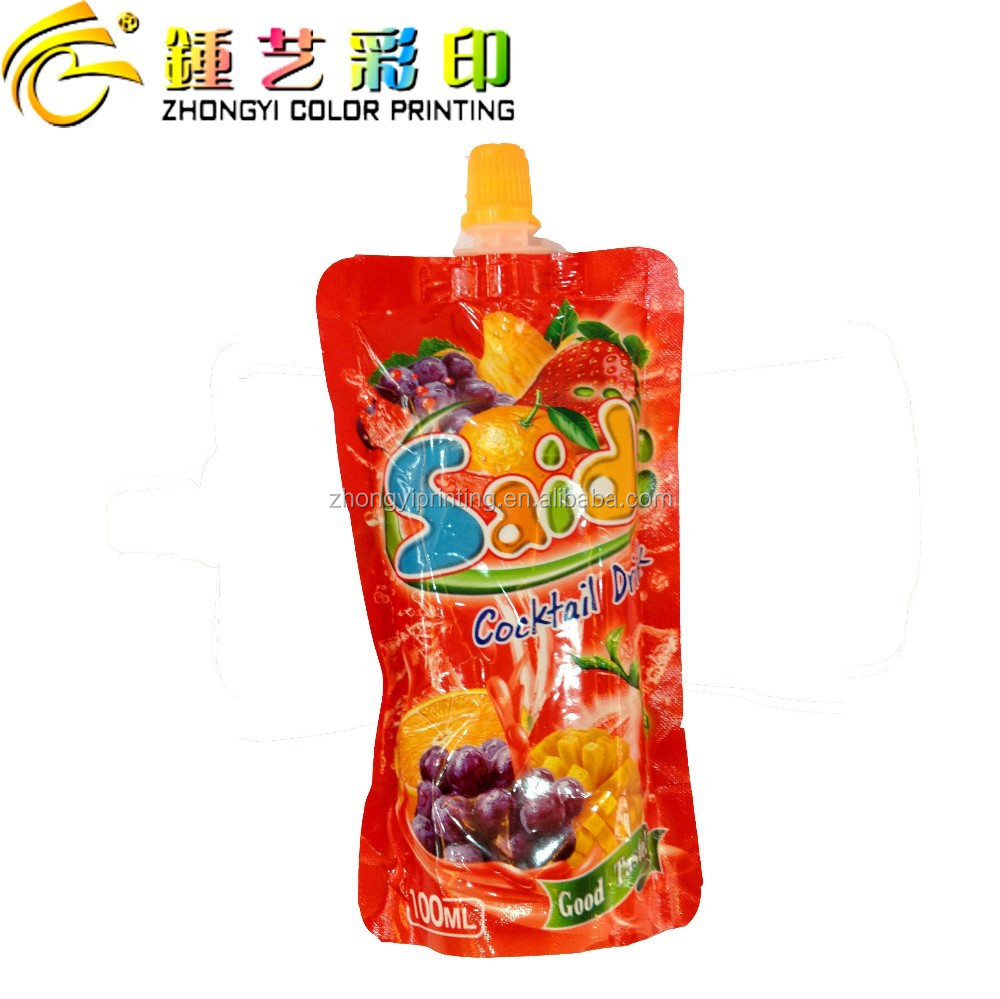 High quality standing pouch with spout and cap,plastic food packing bag,packing&printing