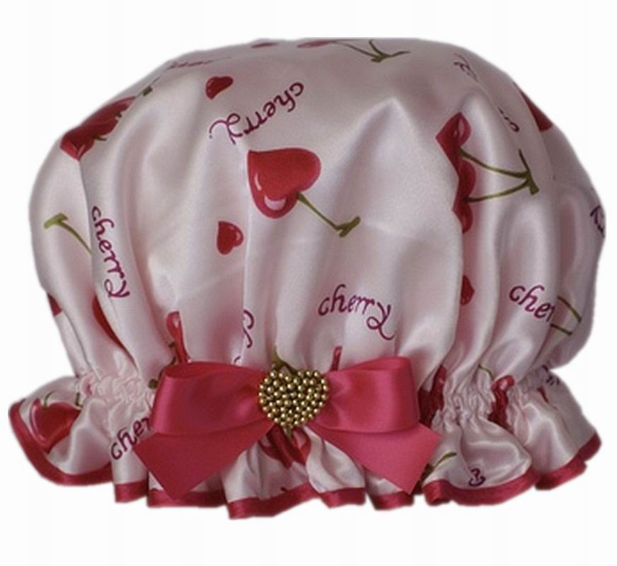The Natural Supply Company Shower Cap Pink Floral Satin