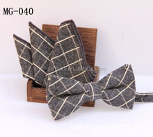 MG 40 Brand new fashion gray checker cotton bowtie and pocket square Set