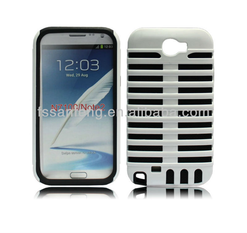 Cheap colorful shockproof case for galaxy note 2 n7100/microphone cellphone case for samsung galaxy note 2 protective cover